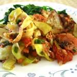 Braised Salmon & Eggplant Zucchini Tagliatelle