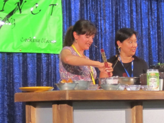 Michelle aka Nom Nom Paleo with Diana Rogers demonstrating Bubble & Squeak Dish