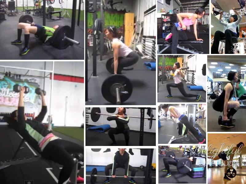 A collage of some of my typical weight lifting routine