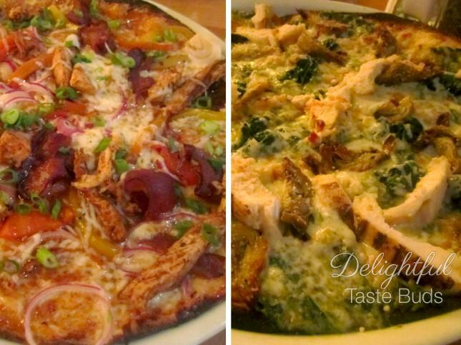 Thin crusted CPK PIzzas  Left: Jamaican Jerk with Chicken Right: Spinach Artichoke with chicken