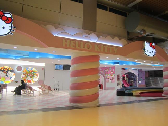Hello Kitty theme waiting area