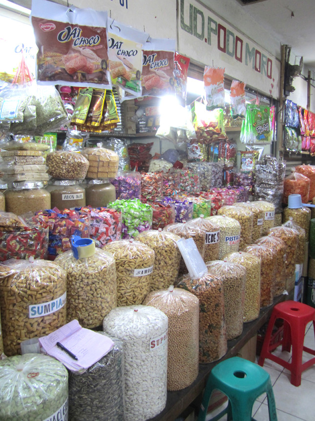 various snacks in bulk for sale.